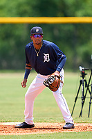 FCL Tigers East first baseman Pedro Martinez Jr. (45) during a game against the FCL Yankees on June 28, 2021 at Tigertown in Lakeland, Florida.  (Mike Janes/Four Seam Images)