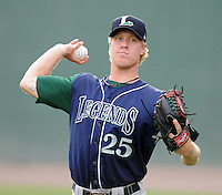 Starting pitcher Mike Foltynewicz (25) of the Lexington Legends, Class A affiliate of the Houston Astros, prior to a game against the Greenville Drive on August 5, 2011, at Fluor Field at the West End in Greenville, South Carolina. Foltynewicz was a first-round pick (No. 19 overall) of the Astros in the 2010 First-Year Player Draft. (Tom Priddy/Four Seam Images)