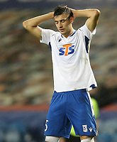29th October 2020, Ibrox Stadium, Glasgow, Scotland; UEFA Europa League football, group stages; Glasgow Rangers versus Lech Poznan;   Jakub Moder of Lech Poznan reacts after missing from free kick