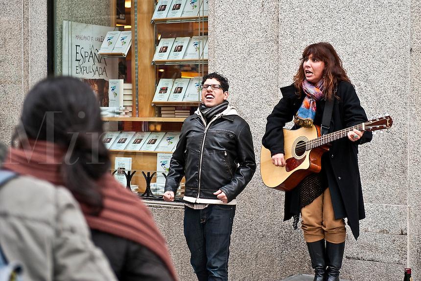 Street musicians in the Puerta del Sol, Madrid, Spain