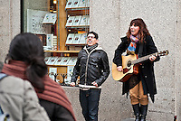 Street musicians in the Puerta del Sol, Madrid, Spain
