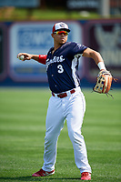 Reading Fightin Phils right fielder Jan Hernandez (3) warms up before the first game of a doubleheader against the Portland Sea Dogs on May 15, 2018 at FirstEnergy Stadium in Reading, Pennsylvania.  Portland defeated Reading 8-4.  (Mike Janes/Four Seam Images)