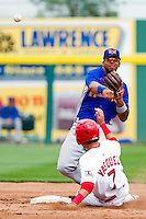 Tyler Ladendorf (5) of the Midland RockHounds turns a double play at second base during a game against the Springfield Cardinals on April 19, 2011 at Hammons Field in Springfield, Missouri.  Photo By David Welker/Four Seam Images
