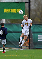 7 November 2012: University of Vermont Catamount Defenseman Scott Kisling, a Junior from Colorado Springs, CO, in action against the University of New Hampshire Wildcats at Virtue Field in Burlington, Vermont. The Wildcats shut out the top seeded Catamounts 1-0 in the America East playoff matchup. Mandatory Credit: Ed Wolfstein Photo