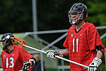 GER - Hannover, Germany, May 30: During the Men Lacrosse Playoffs 2015 match between KKHT Schwarz-Weiss Koeln (white) and SC Frankfurt 1880 (red) on May 30, 2015 at Deutscher Hockey-Club Hannover e.V. in Hannover, Germany. Final score 16:1. (Photo by Dirk Markgraf / www.265-images.com) *** Local caption *** Wolfram Greb #11 of SC 1880 Frankfurt
