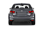 Straight rear view of a 2020 Nissan Versa SV 4 Door Sedan stock images