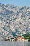 Perast against the towering montains of Kotor, Montenegro