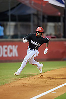 Chattanooga Lookouts second baseman Nick Gordon (1) runs home during a game against the Jackson Generals on May 9, 2018 at AT&T Field in Chattanooga, Tennessee.  Chattanooga defeated Jackson 4-2.  (Mike Janes/Four Seam Images)