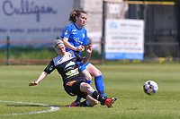 Stephanie Van Gils (27) of Eendracht Aalst and Emily Steijvers (33) of KRC Genk pictured during a female soccer game between Eendracht Aalst and Racing Genk on the 10 th and last matchday of play off 2 of the 2020 - 2021 season of Belgian Scooore Womens Super League , Saturday 29 st of May 2021  in Aalst , Belgium . PHOTO SPORTPIX.BE | SPP | STIJN AUDOOREN