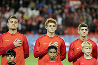 TORONTO, ON - OCTOBER 15: Aaron Long #23, Josh Sargent #19 and Christian Pulisic #10 of the United States during a game between Canada and USMNT at BMO Field on October 15, 2019 in Toronto, Canada.