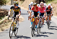 11th July 2021, Ceret, Pyrénées-Orientales, France; Tour de France cycling tour, stage 15, Ceret to  Andorre-La-Vieille;   TEUNS Dylan (BEL) of BAHRAIN VICTORIOUS, KRUIJSWIJK Steven (NED) of JUMBO-VISMA, GUERREIRO Ruben (POR) of EF EDUCATION - NIPPO , DE GENDT Thomas (BEL) of LOTTO SOUDAL, during stage 15 of the 108th edition of the 2021 Tour de France cycling race, a stage of 191,3 kms between Ceret and Andorre-La-Vieille