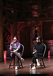 "Holli Campbell and Sabrina imamura attends the cast Q & A during The Rockefeller Foundation and The Gilder Lehrman Institute of American History sponsored High School student #EduHam matinee performance of ""Hamilton"" at the Richard Rodgers Theatre on October 24, 2018 in New York City."