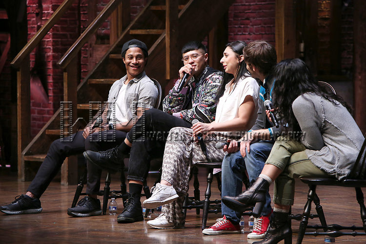 """Daniel Yearwood, Preston Mui, Lauren Boyd, Thayne Jasperson and Gabriella Sorrentino during the Q & A before The Rockefeller Foundation and The Gilder Lehrman Institute of American History sponsored High School student #eduHAM matinee performance of """"Hamilton"""" at the Richard Rodgers Theatre on 3/12/2020 in New York City."""