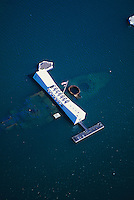 Aerial above the USS Arizona and Memorial at Pearl Harbor, Hawaii