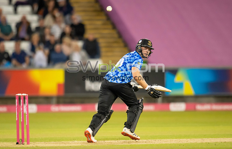 Picture by Allan McKenzie/SWpix.com - 24/08/2021 - Cricket - Vitality Blast Quarter Final - Yorkshire Vikings v Sussex Sharks - Emirates Durham ICG, Chester-le-Street, England - Sharks's Luke Wright hits out against the Vikings.