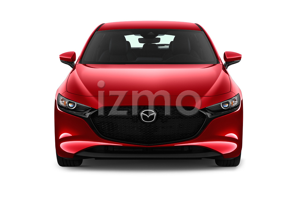 Car photography straight front view of a 2019 Mazda Mazda-3 - 5 Door Hatchback Front View