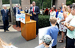 WATERBURY, CT. - 21 July 2021-072121SV07-Former Republican State Senator George Logan announced his entering the 5th District race in 2022 during a rally at Noujaim Tool Co. in Waterbury Wednesday.<br /> Steven Valenti Republican-American