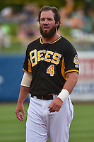 Ian Stewart (4) of the Salt Lake Bees during the game against the Reno Aces in Pacific Coast League action at Smith's Ballpark on July 23, 2014 in Salt Lake City, Utah.  (Stephen Smith/Four Seam Images)