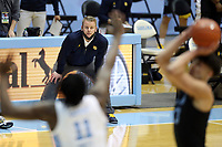 CHAPEL HILL, NC - FEBRUARY 24: Head coach Steve Wojciechowski of Marquette watches from the sideline during a game between Marquette and North Carolina at Dean E. Smith Center on February 24, 2021 in Chapel Hill, North Carolina.