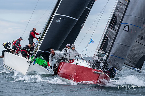 The much smaller custom 1720 Antix Beag is chased by J109s at the top mark Photo: Bob Bateman