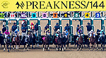 May 18, 2019 : The start of the 144th Preakness Stakes with Bodexpress #9 and jockey John Velazquez getting separated at the start. Velazquez fell to the ground and was uninjured. Bodexpress ran the race without his rider. War of Will #1, ridden by Tyler Gaffalione, went on to win the Preakness Stakes at Pimlico Race Course in Baltimore, Maryland. John Voorhees/Eclipse Sportswire/CSM