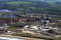 Aerial view of Corus, Port Talbot Steelworks recently bought by Tata