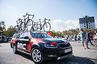 Castellon, SPAIN - SEPTEMBER 7: BMC Car during LA Vuelta 2016 on September 7, 2016 in Castellon, Spain