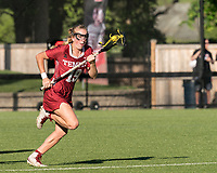 NEWTON, MA - MAY 14: Courtney Taylor #19 of Temple University brings the ball forward during NCAA Division I Women's Lacrosse Tournament first round game between University of Massachusetts and Temple University at Newton Campus Lacrosse Field on May 14, 2021 in Newton, Massachusetts.
