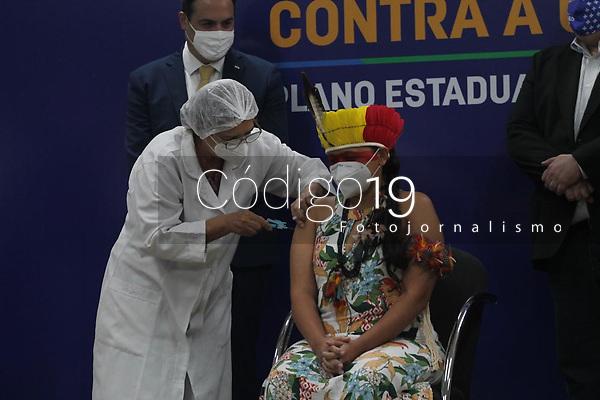 Penha Atikum, do município de Carnaubeira da Penha, sertão de Pernambuco é a primeira indígena a tomar a vacina contra a Covid-19, na noite desta segunda feira(18). Penha tomou a dose da vacina logo após, Perpétua Barbosa, técnica em enfermagem, ter tomado a primeira dose, no Hospital Universitário Oswaldo Cruz da Universidade de Pernambuco (UPE), localizado no bairro de Santo Amaro área central do Recife.