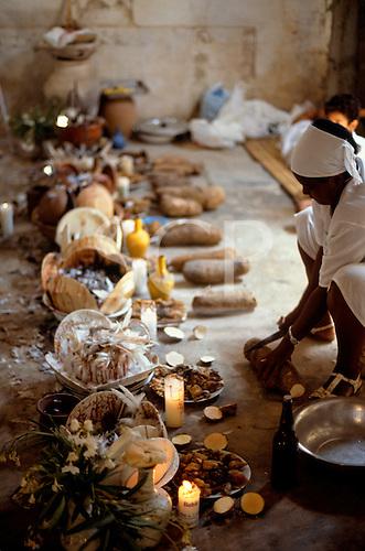 Recife, Pernambuco State, Brazil. Candomble festival: sacrificial foods.