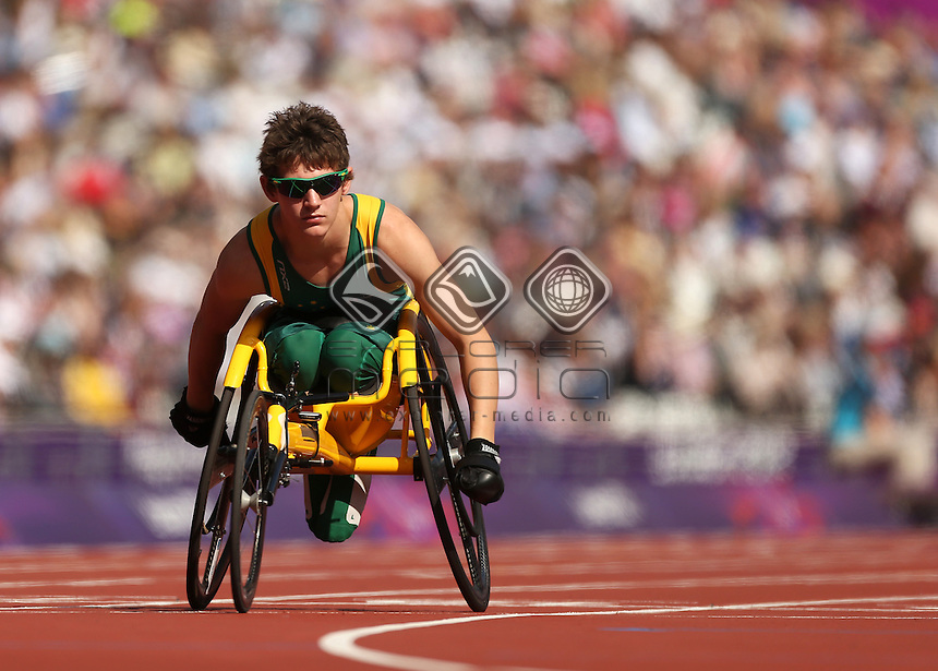 Rheed McCracken (AUS), Men's 200m - T34.<br /> Athletics, Olympic Stadium (Tuesday 4th Sept)<br /> Paralympics - Summer / London 2012<br /> London England 29 Aug - 9 Sept <br /> © Sport the library/Joseph Johnson