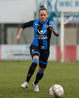20180127 - AALTER , BELGIUM : Brugge's Kay Cuvelier pictured during the quarter final of Belgian cup 2018 , a womensoccer game between Club Brugge Dames and Standard Femina de Liege , in Aalter , saturday 27 th January 2018 . PHOTO SPORTPIX.BE | DAVID CATRY