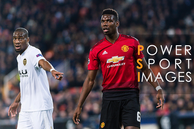 Paul Pogba of Manchester United (R) in action during the UEFA Champions League 2018-19 match between Valencia CF and Manchester United at Estadio de Mestalla on December 12 2018 in Valencia, Spain. Photo by Maria Jose Segovia Carmona / Power Sport Images