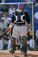 February 25, 2009:  Catcher P.J. Pilittere (86) of the New York Yankees during a Spring Training game at Dunedin Stadium in Dunedin, FL.  The New York Yankees defeated the Toronto Blue Jays 6-1.   Photo by:  Mike Janes/Four Seam Images