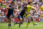 Australia vs Scotland during the HSBC Sevens Wold Series match as part of the Cathay Pacific / HSBC Hong Kong Sevens at the Hong Kong Stadium on 28 March 2015 in Hong Kong, China. Photo by Xaume Olleros / Power Sport Images