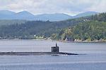 Washington State, ballistic missile submarine outbound from Navy Base Kitsap (formerly Naval Submarine Base Bangor), Puget Sound, Hood Canal, Pacific Northwest, USA
