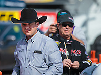 Feb 24, 2019; Chandler, AZ, USA; NHRA top fuel driver Steve Torrence (left) with father Billy Torrence during the Arizona Nationals at Wild Horse Pass Motorsports Park. Mandatory Credit: Mark J. Rebilas-USA TODAY Sports