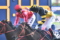 10 December 2017, Hong Kong - Nash Rawiller on the John Size trained MR STUNNING (1) wins Race 5, The Longines Hong Kong Sprint and is congratulated by Olivier Doleuze on the John Size trained D B PIN (10) at Sha Tin Racecourse Hong Kong. Photo Sydney Low