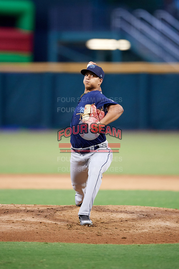 Mobile BayBears starting pitcher Jose Rodriguez (13) delivers a pitch during a game against the Jacksonville Jumbo Shrimp on April 14, 2018 at Baseball Grounds of Jacksonville in Jacksonville, Florida.  Mobile defeated Jacksonville 13-3.  (Mike Janes/Four Seam Images)