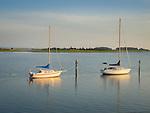 Clinton Harbor, Long Island Sound  with sailboats and Cedar Island.