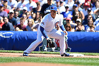 Chicago Cubs first baseman Anthony Rizzo (44) fields a throw during a game against the Milwaukee Brewers on August 14, 2014 at Wrigley Field in Chicago, Illinois.  Milwaukee defeated Chicago 6-2.  (Mike Janes/Four Seam Images)