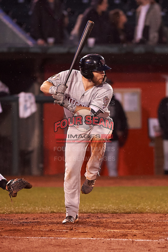 Wisconsin Timber Rattlers David Fry (10) at bat during a Midwest League game against the Lansing Lugnuts at Cooley Law School Stadium on May 2, 2019 in Lansing, Michigan. Lansing defeated Wisconsin 10-4. (Zachary Lucy/Four Seam Images)
