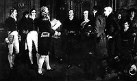 The signing of the Treaty of Ghent with Great Britain, December 24, 1814.  Copy from painting by A. Forestier. (Army)<br /> NARA FILE #:  111-SC-96965<br /> WAR & CONFLICT BOOK #:  95