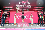 Race leader Filippo Ganna (ITA) retains the Maglia Rosa at the end of Stage 2 of the 2021 Giro d'Italia, running 179km from Stupinigi (Nichelino) to Novara, Italy. 9th May 2021.  <br /> Picture: LaPresse/Gian Mattia D'Alberto | Cyclefile<br /> <br /> All photos usage must carry mandatory copyright credit (© Cyclefile | LaPresse/Gian Mattia D'Alberto)
