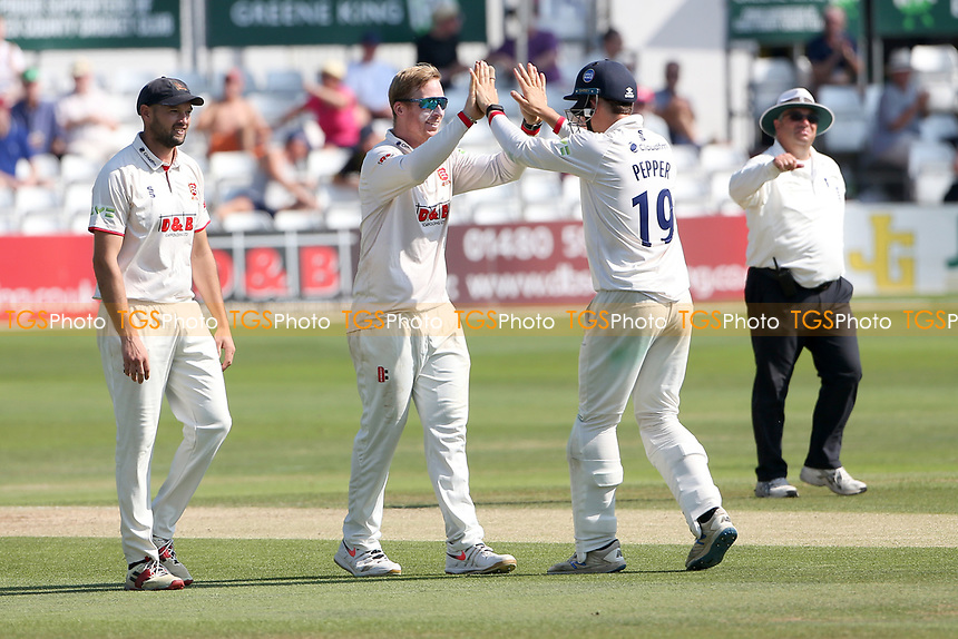 Simon Harmer of Essex celebrates taking the wicket of Zafar Gohar during Essex CCC vs Gloucestershire CCC, LV Insurance County Championship Division 2 Cricket at The Cloudfm County Ground on 7th September 2021