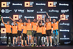 Winners receive their awards on stage during the Bloomberg Square Mile Relay race across the Dubai International Financial Centre on 8 February 2017 in Dubai, United Arab Emirates. Photo by Victor Fraile / Power Sport Images
