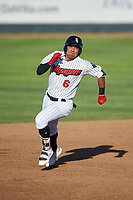 Great Falls Voyagers Luis Curbelo (6) runs to third base during a Pioneer League game against the Missoula Osprey at Centene Stadium at Legion Park on August 19, 2019 in Great Falls, Montana. Missoula defeated Great Falls 4-1 in the first game of a doubleheader. Games were moved from Missoula after Ogren Park at Allegiance Field, the Osprey's home field, was ruled unplayable. (Zachary Lucy/Four Seam Images)