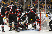 - The Boston College Eagles defeated the Northeastern University Huskies 6-3 for their fourth consecutive Beanpot championship on Monday, February 11, 2013, at TD Garden in Boston, Massachusetts.