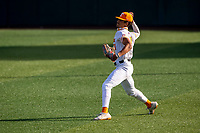 Tennessee Volunteers outfielder Trey Lipscomb (21) warms up prior to the game against the LSU Tigers on Robert M. Lindsay Field at Lindsey Nelson Stadium on March 26, 2021, in Knoxville, Tennessee. (Danny Parker/Four Seam Images)