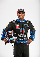 Feb 6, 2020; Pomona, CA, USA; NHRA top fuel driver Antron Brown poses for a portrait during NHRA Media Day at the Pomona Fairplex. Mandatory Credit: Mark J. Rebilas-USA TODAY Sports